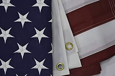 American Flag,US Flags 3x5ft Embroidered Stars Sewn Stripes Heavy Duty Durable UV Resistant 300D Nylon Polyester Made USA Banner for Outdoor Indoor Use with Brass Grommets for Pole (3 by 5 Foot)