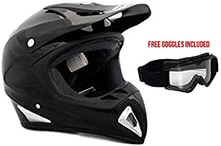 MMG Adult Motorcycle Helmet Off Road MX ATV Dirt Bike Motocross UTV, Shiny Black, Medium, Includes Goggles