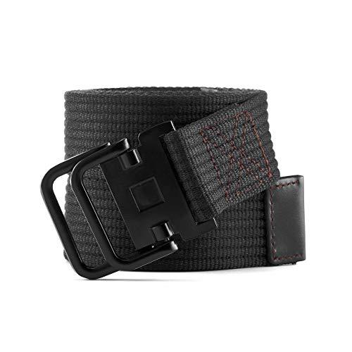 Faletony - Cinturón unisex de lona con hebilla redonda de metal para pantalones vaqueros, pantalones y vestidos Negro 130