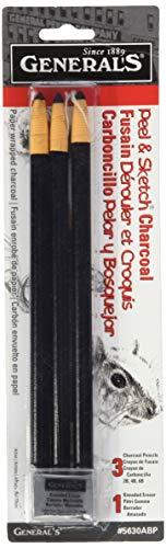 Peel & Sketch Charcoal Pencils 3/Pkg-