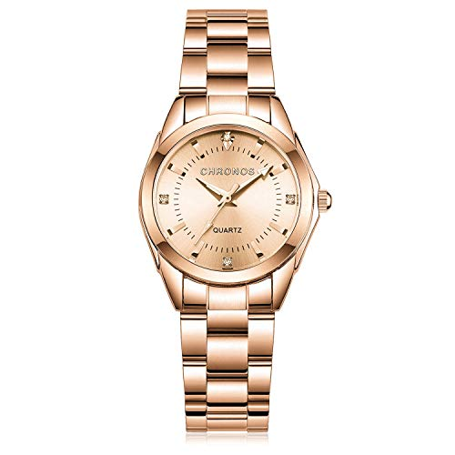 Women Lady Rose Gold Watch Dress Analog Quartz Watch with Stainless Steel Band, Simple Design Easy Reader Wrist Casual Fashion Waterproof Water Rsistant Watches Noctilucent Wristwatch - Best GIF