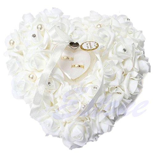 Hochzeitsring Kissen Spitze Kristall Rose Hochzeit Herz Ringhalter Ringhalter Hochzeit Zubehör, weiß, 25 x 25 x 14cm