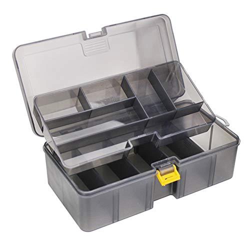 Fishing Tackle Box, Angel Zubehör Aufbewahrungsbox Doppelschicht Angelkasten zum Aufbewahrung Angeln erforderliches Zubehör(21,5×12×6,7 cm)