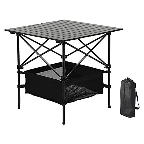 Mesa de Camping Plegable al Aire Libre | Mesa de Picnic Portátil | Mesa de Vino de Aluminio con Bolsa de Transporte Fácil y Gran Espacio de Almacenamiento | Para Jardín Césped Playa (Color:,Size:A