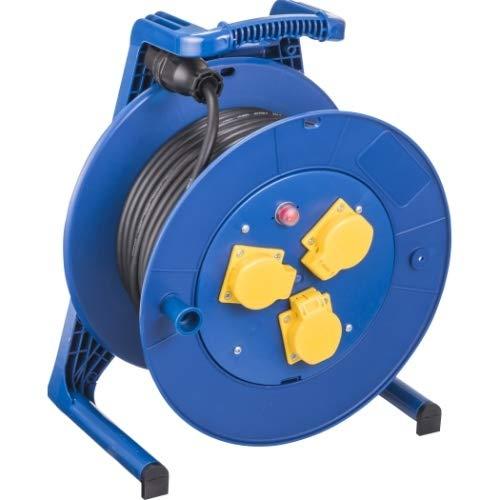 Jumbo L H07RN-F - Carrete alargador de cable con 3 enchufes (sección transversal 3 x 1,5 mm2, longitud 25 m), color negro