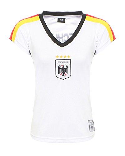 Antonio by Cleostyle Damen Deutschland Fußballtrikot Fanshirt WM 2018 Nationalmannschaft T-Shirt Weiß CL 52-1 (XS)