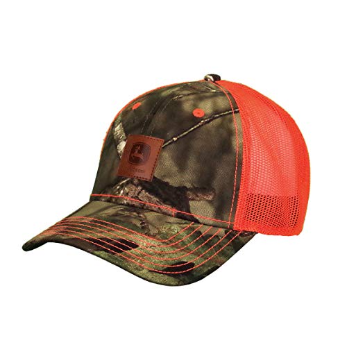 John Deere Tractors Men's Mossy Oak Camo Leather Patch Hat, Camo and...