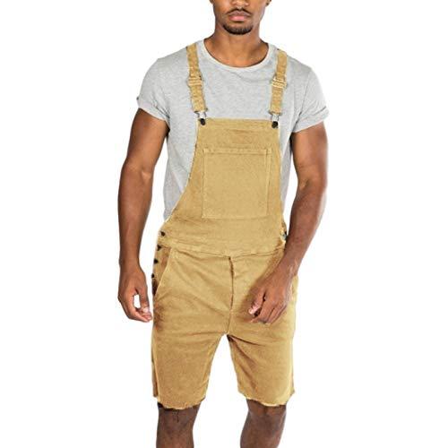 Mono de Mezclilla clásico para Hombre Pantalones Cortos de Lona elásticos de Lavado Duradero de Color sólido de Corte Holgado con Estilo 3X-Large