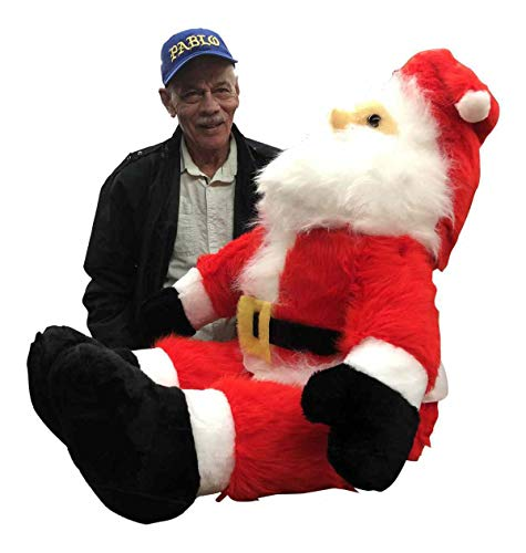 Big Plush Giant Stuffed Sitting Santa Claus 4 Feet Tall Soft Large Christmas Plush 48 Inches, Legs Bend so He can Sit Down, Made in USA