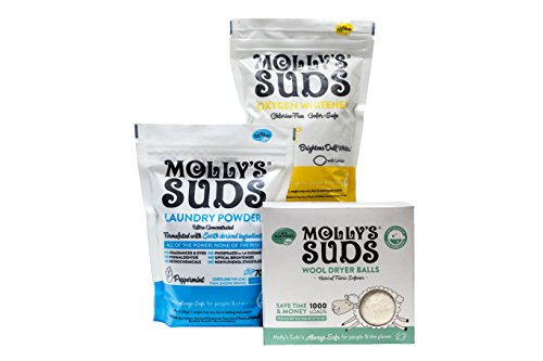 Molly#039s Suds Starter Pack  70 Load Natural Laundry Powder 1 Package of Wool Dryer Balls and 1 Oxygen Whitener