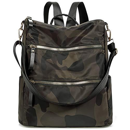 Waterproof Nylon Women Backpack Purse Multipurpose School Travel Shoulder Bag (B-Camo Green)