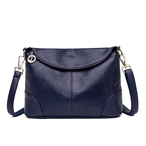 Bolso del cuerpo cruzado de las señoras, bolso de cuero suave del hombro de cuero ligero con correa de hombro ajustable Bolso de hombro de gran capacidad grande Vintage ( Color : Blue , Size : L )