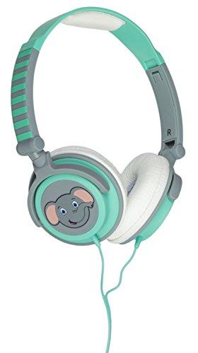 My Doodles Leicht-Kopfhörer für Kinder im niedlichen Elefant Design mit 85Db Volume Limiting Lautstärkebegrenzung - Grün mit Elefant