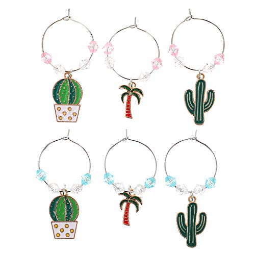 WINOMO 6pcs Hawaii Style Cactus Design Wine Cup Rings Wine Glass Identifiers Cup Signs