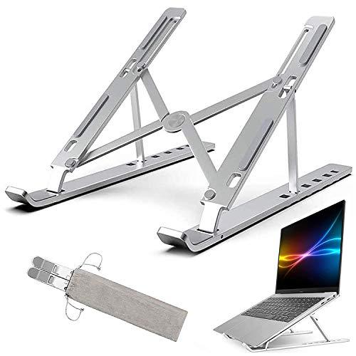 ZEEREE Alluminio Supporto per Laptop,6 Angoli Regolabili Vassoi di appoggio per PC Portatili,Portatile Pieghevole ventilato Supporto, Compatibile con
