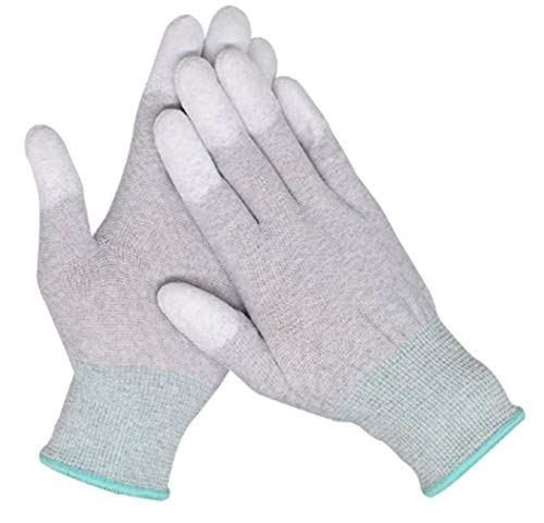 VIPER 10 Pairs Anti Static Gloves Top Fit Fingertip 13G Grey Carbon Fibers PU Coated ESD Safety Gloves (Small, Green)