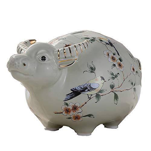 ZAKRLYB Cow Piggy Bank Adult Hogar Savings Cerámica Resistente a la Cerámica Hecho A Mano Hecho Hecho A Moneda Detalle Decoración de Escritorio Niños Adecuado para Sala de Estar Habitación para niños