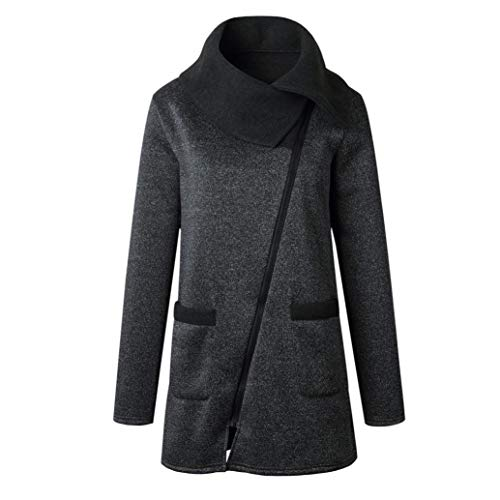Womens Casual Jacket High Collar Pea Coat Long Zipper Asymmetric Outwear Tops Dark Gray