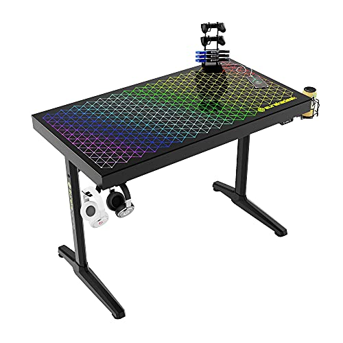 EUREKA ERGONOMIC Tempered Glass, Metal RGB Home Office Computer Desk Polygon Legs Design General Series I43 Gaming Desk, 43 Inch, Black