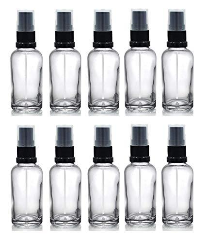 Lot de 10 flacons en verre pour aromathérapie et pharmaceutiques rechargeables avec pulvérisateurs noirs, 30 ml, transparents.