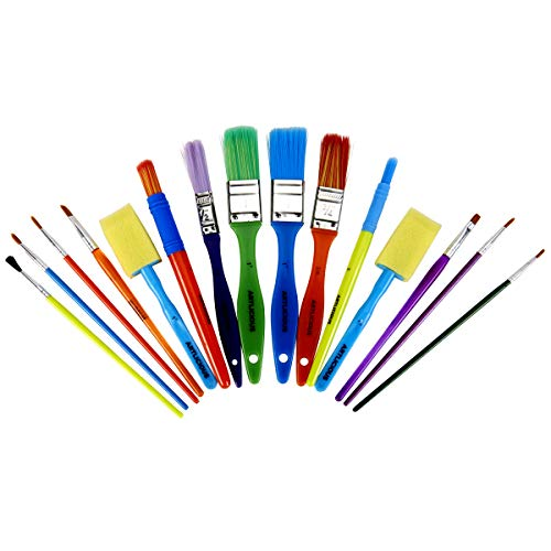 All Purpose Paint Brush Value Pack - Great with Acrylic, Oil, Watercolor, Gouache (15 Brushes)