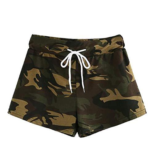 Ansenesna Shorts Damen Kurze Camouflage Army Hosen Mit Gummizug Mädchen Freizeit Straight Fit (Camouflage, S)
