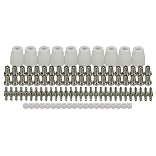 ESAB L-TEC PT-31 JG-40 WSD-LG40 Plasma-Elektrodenspitzen, Düse, verlängert, vernickelt, Shroud Shield Cup Kit Fit Cut 50D 50 40 Plasmaschneider, 100 Stück
