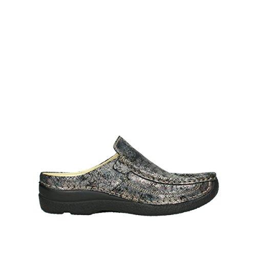Wolky Comfort Clogs Roll Slide - 40280 grau metallic Veloursleder - 42