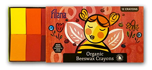 FILANA (12 Block Crayons) Organic Beeswax Block Crayons, Natural, Non Toxic, Handmade in the US, No Paraffin or Petroleum Waxes, Rich Colors, Glide Easily