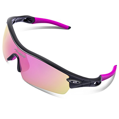 RIVBOS 805 Polarized Sports Sunglasses Glasses for Women with 5 Set Interchangeable Lenses for Cycling (TR90 Black&Pink)