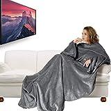 IREGRO TV Decke, Decke mit Ärmeln 180 x 200cm, Verdickte Flanell Kuscheldecke mit Ärmeln und Taschen, Weich Fleecedecke Mikrofaserdecke Sofadecke mit Fußtasche, Grau