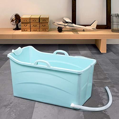 IROO® Mobile Badewanne Erwachsene,Faltbare Badewanne Ideal für das Kleine Badezimmer,Klappbadewanne für Erwachsene und Kinder,Tragbare Kunststoff Badewanne für Dusche,mit Seifenkorb,Nackkissen,Hocker