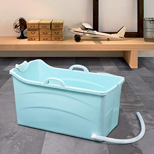 Vasca da Bagno Portatile per Adulti e Bambini Pieghevole, Vaschetta Bagno in Addensata Plastica per all'aperto e interno, Vasca mobile con seduta, Ideale per bagni piccoli, blu, 90x50x52cm