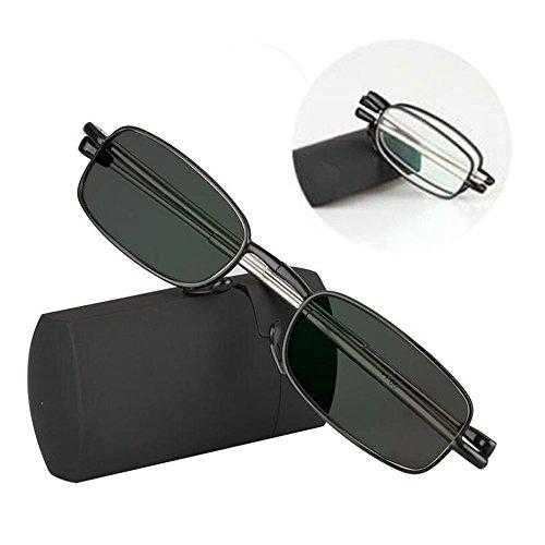 Übergang photochrome Falt Lesebrille Mini Pocket Reader mit Case weitsichtige faltbare UV400 Sonnenbrille + 1,0 bis + 3,0 (+2.25)