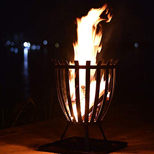 ZEIYUQI Cast Iron Fire Pit for Camping Outdoor Bonfire Pit for Parties, Festivals, Family Events, Portable Campfire Wood Burning Winter Heater
