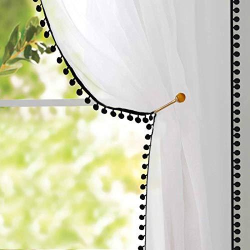 Naturoom Pom Pom Sheer Curtains Tasseled Linen Look Semi-Sheer Curtains - Rod Pocket Voile Semi-Sheer Curtains for Girls Bedroom Living, Set of 2 Curtain Panels (54 x 84 inch, Black Pom Poms)