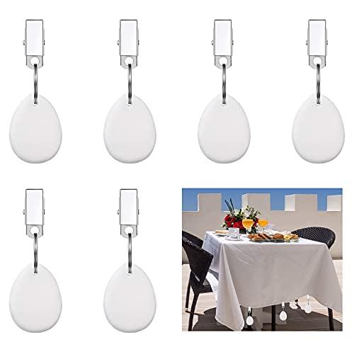 Moroborテーブルクロスウェイトハンガー、屋外ファミリーディナーガーデンパーティーウェディングキャンプピクニック用のステンレススチールクリップ付き6pcsテーブルカバーウェイト、ホワイト