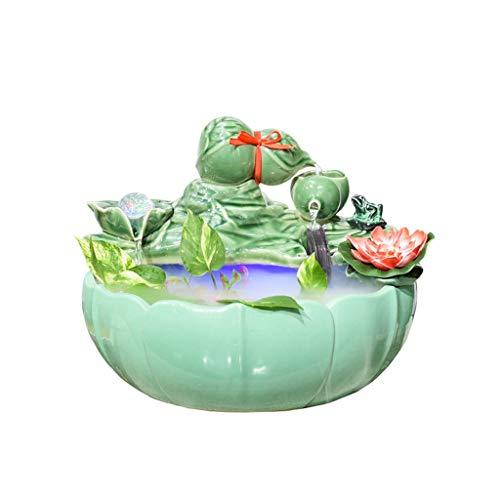 FABAX Rueda de Agua de la Calabaza de cerámica de Loto de Agua Fuente de Escritorio Bonsai Pequeño Fish Tank Waterscape Home Living Room Decoration (Color : Without Fog, tamaño : L)