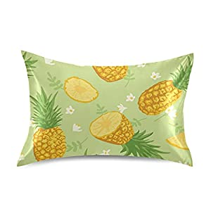Satin Pillowcase Pillow Covers Summer Pinapple and White Flowers Cushion Luxury Soft Throw Pillows Bedside Pillow Cases Protectors Home Decorative with Envelope Opening Silk Fabrics for Adults