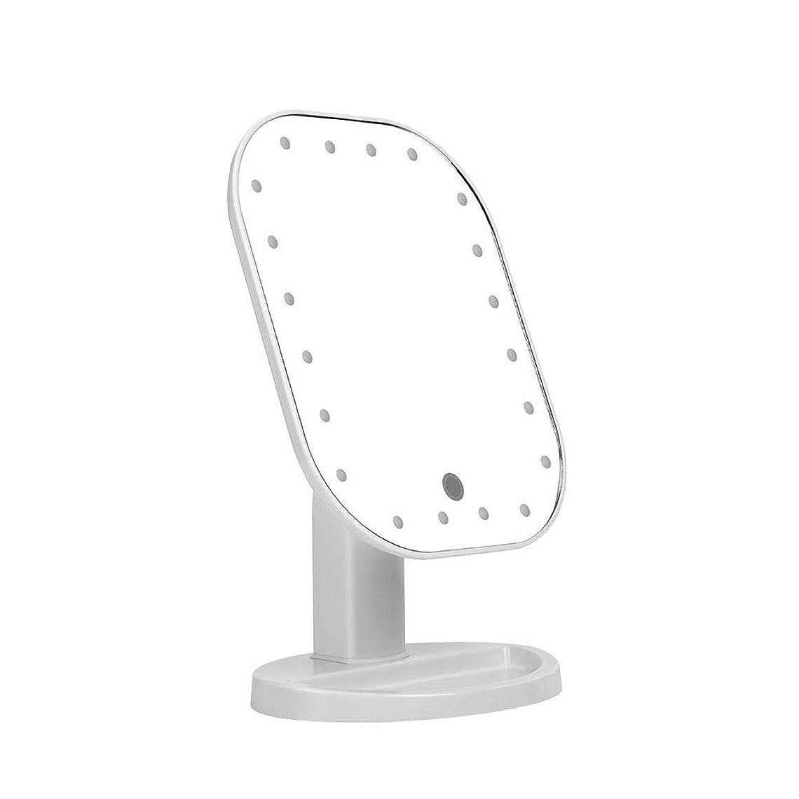 韓国臭い操縦する卓上化粧鏡、C-Timvasion 女優 化粧鏡 20個LEDライト付き タッチパネル 明るさ調節可 角度180度調節可 単三電池給電