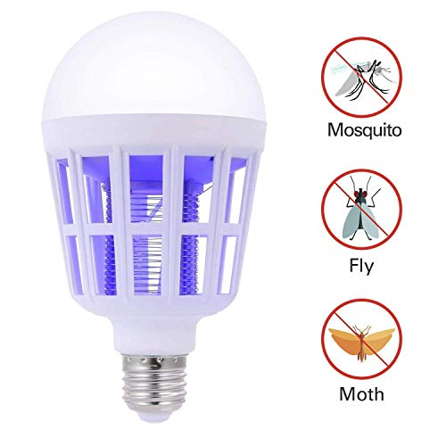 SUNNEST Bug Zapper, 2 in 1 Mosquito Killer Lamp UV LED Electronic Insect & Fly Killer Indoor & Outdoor Insect Zapper Fly Trap - LED Light Bulb Non-Toxic Silent & Effortless Operation Pest Control