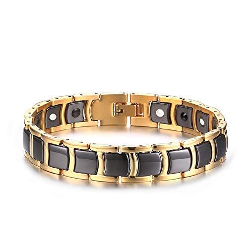 12MM roestvrij staal + keramiek + gouden trend mannen armband mode dominerende mannen en vrouwen creatieve sieraden.