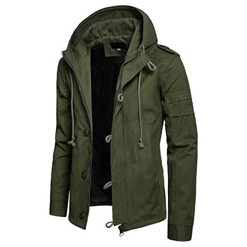 Men's Military Jacket Cotton Fall Winter Windbreaker with Hood Casual Coat