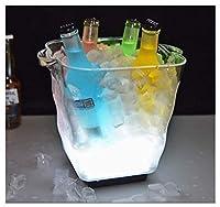 カラフルなLEDアイスバケツ、ルミナスアイスグローイング雰囲気ホリデーパーティーバーマルチカラー・クラブバーセットアイスショック点滅ビールワインウイスキー (Color : White)