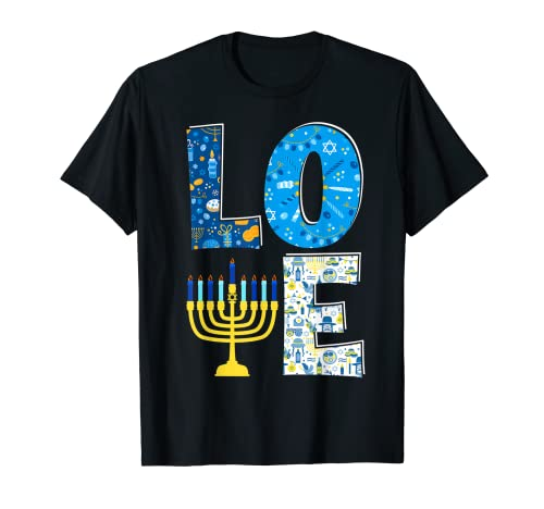 Love Cute Hanukkah Decoration Menorah Pajama Matching Family T-Shirt