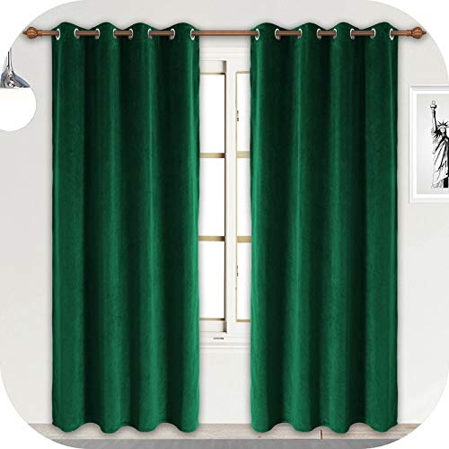 ZHAOFENG Emerald Green Velvet Curtains with Grommet, Blackout SoftLuxury ThickSunlight Dimming Heat InsulatedPrivacy ProtectVelour Drapes for Livingand Dining Room, 2 Panels, W52 x L84 Inches