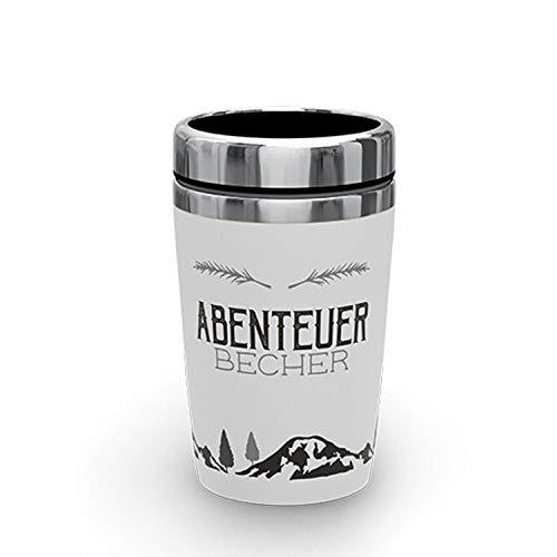 Bavaria-Home-Style-Collection Thermo Kaffee Coffee to Go Kaffe Tee Becher 240 ml - Thermobecher to go Verschiedene Motive und Sprüche - Geschenk Idee Ostern Muttertag, Geburtstag (Abenteuer Becher)