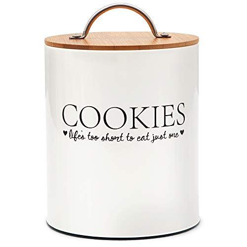 D'Lifeful Cookie Jars for Kitchen Counter - Decorative Storage Container with Airtight Bamboo Seal Lid - Farmhouse Cookie Tins with Lids For Gift Giving