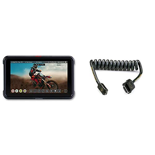 Atomos Ninja V 5 Zoll 4K HDMI Recorder ATOM4K60C1 HDMI Kabel Micro 30 cm Cast Connector 60 cm Extended schwarz