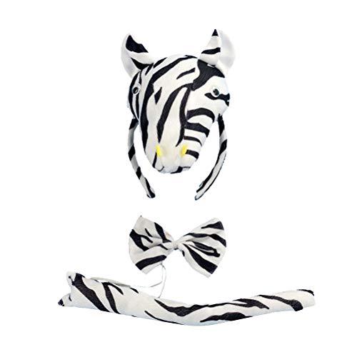 PRETYZOOM Halloween Animales Cosplay Set Zebra Diadema Corbata Disfraz de cola Accesorios de rendimiento Prop Party Supplies